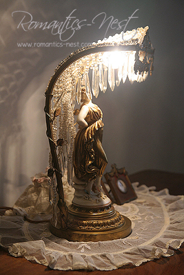 RARE 1900 BRONZE FRENCH BEADED CRYSTAL LAMP