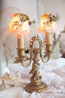 with lovely ANGEL.... 리본 브론즈 보우 & 엔젤 램프... (Antique French Bronze  angel lamp)